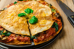 Vegetarian tortilla and bolognese sauce Stock Photo