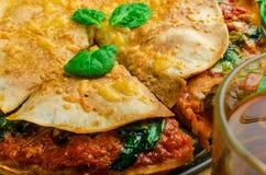Vegetarian tortilla and bolognese sauce Royalty Free Stock Photo