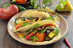 Vegetarian tortilla tacos with grilled vegetables, corn Stock Images