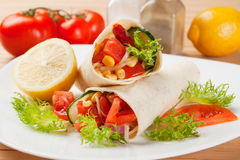 Vegetarian tortilla wraps. With tomato, corn and lettuce Stock Photography