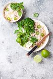 Vegetarian traditional Vietnamese soup Pho bo with herbs, rice noodles, broccolini, bok choy. Asian food concept. stock photography