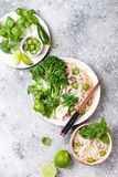 Vegetarian traditional Vietnamese soup Pho bo with herbs, rice noodles, broccolini, bok choy. Asian food concept. Vegetarian traditional Vietnamese soup Pho bo royalty free stock images