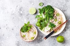 Vegetarian traditional Vietnamese soup Pho bo with herbs, rice noodles, broccolini, bok choy. Asian food concept. Vegetarian traditional Vietnamese soup Pho bo royalty free stock photography