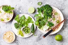 Vegetarian traditional Vietnamese soup Pho bo with herbs, rice noodles, broccolini, bok choy. Asian food concept. royalty free stock photo