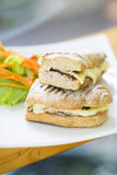 Vegetarian tuna and cheese toasted baguette sandwich Stock Photography