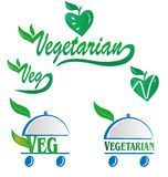 Vegetarian and veg symbol. Menu  on white Stock Photography