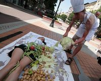 Vegetarian and vegan activists staged a protest. Sofia, Bulgaria - June 19, 2016: Vegetarian and vegan activists staged a protest on Vitosha Boulevard in the royalty free stock photography