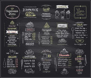 Vegetarian and vegan food chalkboard design set, hand drawn line graphic illustration Royalty Free Stock Photography