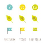 Vegetarian, vegan, raw vegan tags. Vector EPS 10 hand drawn signs Royalty Free Stock Photo