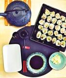 Vegetarian vegan sushi meal Royalty Free Stock Images