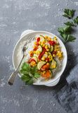 Vegetarian vegetable fajitas rice bowl on the gray table, top view. Healthy diet food Stock Photography
