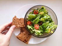 Vegetarian vegetable salad. Fresh salad flying to bowl in super slow motion. Avocado Tomato Salad.  stock photos
