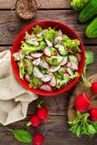 Vegetarian vegetable salad of radish, cucumbers, lettuce salad and flax seeds. Healthy  vegan food. Top view Royalty Free Stock Image