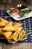 Vegetarian Vegetable Samosas with Dipping Sauces Royalty Free Stock Photo