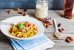 Vegetarian vegetable stew with peas and corn, curry, healthy din Stock Photos
