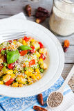 Vegetarian vegetable stew with peas and corn, curry, healthy din Royalty Free Stock Image