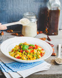 Vegetarian vegetable stew with peas and corn, curry, healthy din Stock Images