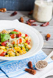 Vegetarian vegetable stew with peas and corn, curry, healthy din Royalty Free Stock Photography