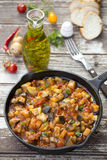 Vegetarian Vegetable Stew. Vegetarian summer stew with zucchini, eggplant and peppers Royalty Free Stock Photos