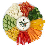 Vegetarian vegetables plate with yogurt dip Royalty Free Stock Photo