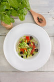 Vegetarian vegetables Soup. Soup with  vegetables on white wooden table top view Royalty Free Stock Images