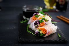 Vegetarian vietnamese spring rolls with spicy sauce, carrot, cucumber. Red cabbage and rice noodle. Vegan food. Tasty meal. Copy space royalty free stock images