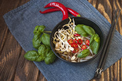 Vegetarian vietnamese style soup pho with garnishes. Traditional asian cuisine Royalty Free Stock Image