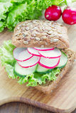 Vegetarian wholemeal sandwich Royalty Free Stock Images