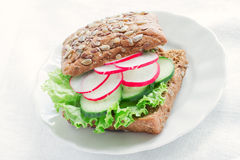 Vegetarian wholemeal sandwich Stock Images