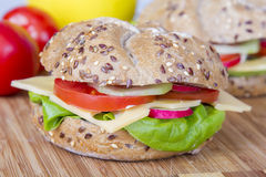 Vegetarian wholemeal sandwich roll Royalty Free Stock Photos