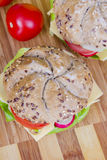 Vegetarian wholemeal sandwich roll Royalty Free Stock Photo
