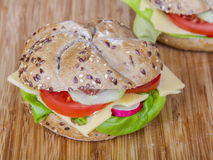 Vegetarian wholemeal sandwich roll Royalty Free Stock Photography
