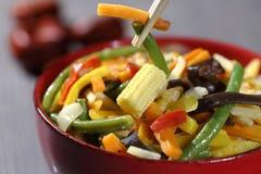 Vegetarian wok with bamboo and corn. Vegetarian wok with noodles, bamboo shoots and baby corn Stock Photos