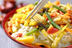 Vegetarian wok with bamboo and corn Royalty Free Stock Images