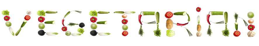 Vegetarian word made of vegetables Stock Photography