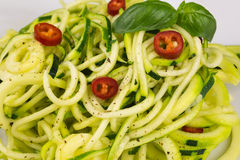 Vegetarian zucchini noodles Royalty Free Stock Photography