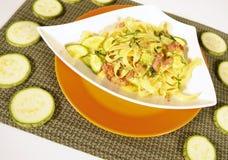 Vegetarian zucchini pasta. Vegetarian pasta dish with zucchinis royalty free stock image