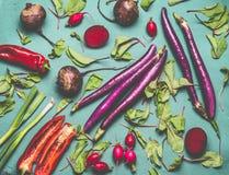 Vegetariano in buona salute e vegano che cucinano e che mangiano con le verdure organiche stagionali del raccolto Pulisca il conc immagini stock