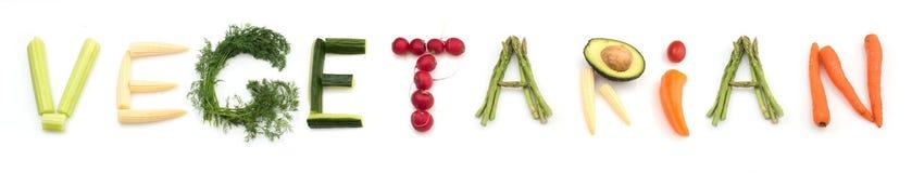 Vegetariano da palavra feito dos vegetais Foto de Stock Royalty Free