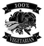 Vegetariano etiqueta del 100 por ciento Fotografía de archivo