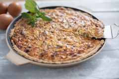 Vegetariano hecho casero de la quiche del queso del calabac?n de los puerros imágenes de archivo libres de regalías