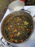 Vegetariano que cocina en el salvaje, el guisado de lentejas y verduras en un grande puesto afuera imagenes de archivo