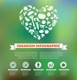 Vegetariano y vegano, infographic orgánico sano Fotos de archivo libres de regalías