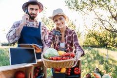 Vegetarianos da venda de fazendeiros no mercado imagens de stock