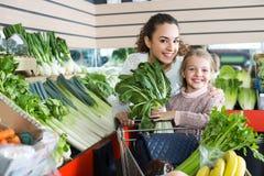 Vegetarianos de compra da mulher e da menina Imagens de Stock