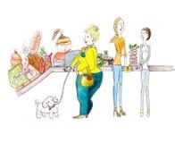 Vegetarianos e compra gorda da mulher na pintura da aquarela do supermercado Foto de Stock