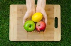 Vegetarianos y el cocinar en la naturaleza del tema: mano humana que sostiene un rojo, verde y amarillo limón en el fondo de a Imagen de archivo