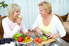 Vegetarians cooking at home Stock Images