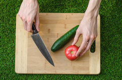 Vegetarians and cooking on the nature of the theme: human hand holding cucumber, tomato on a cutting board and a background of gre Royalty Free Stock Photos