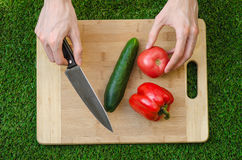 Vegetarians and cooking on the nature of the theme: human hand holding cucumber, tomato and red pepper on a cutting board and a ba Royalty Free Stock Photo